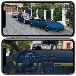 Lamborghini Huracan Spyder projected on iPhone with AR Quick Look Feature