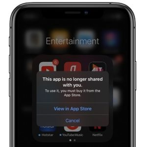 This app is no longer shared iOS bug on iPhone