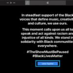 Apple Music solidarity message for black community during Blackout Tuesday