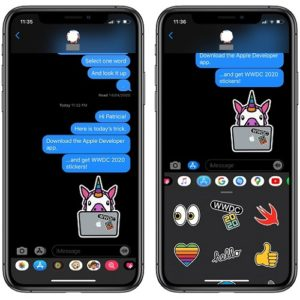 Official WWDC 2020 stickers in Messages