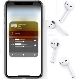 Two sets of AirPods paired to the same iPhone