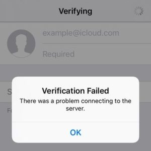 iCloud 'Verification Failed' error prompt