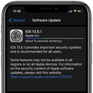 iOS 13.5.1 software update screen