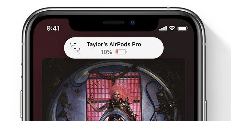 new iOS 14 AirPods Pro low battery notification