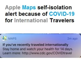 Apple Maps self-isolation notification for International Travelers