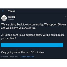 Hacked Apple tweet asking for Bitcoin