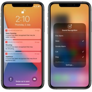 iOS 14 Sound Recognition notifications on iPhone Lock Screen
