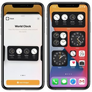 iPhone Home Screen Clock widgets in iOS 14