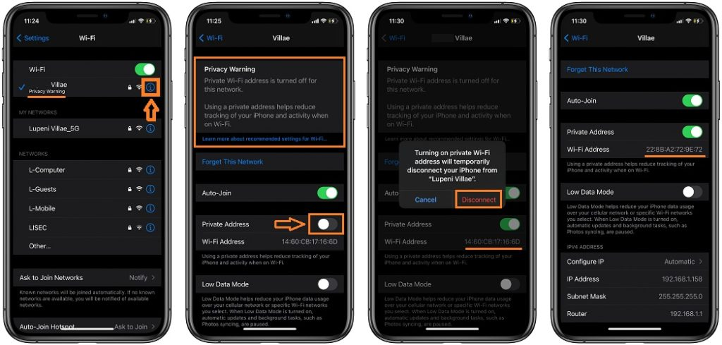how to enable private wi-fi address for iphone