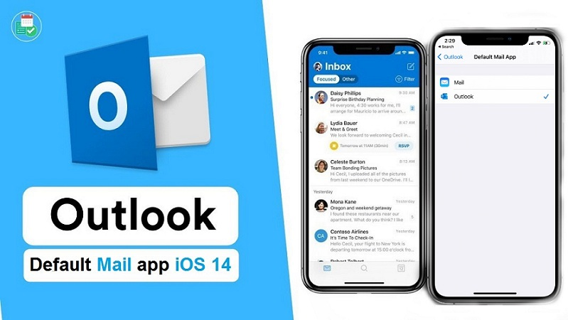 Microsoft Outlook default mail app on iPhone