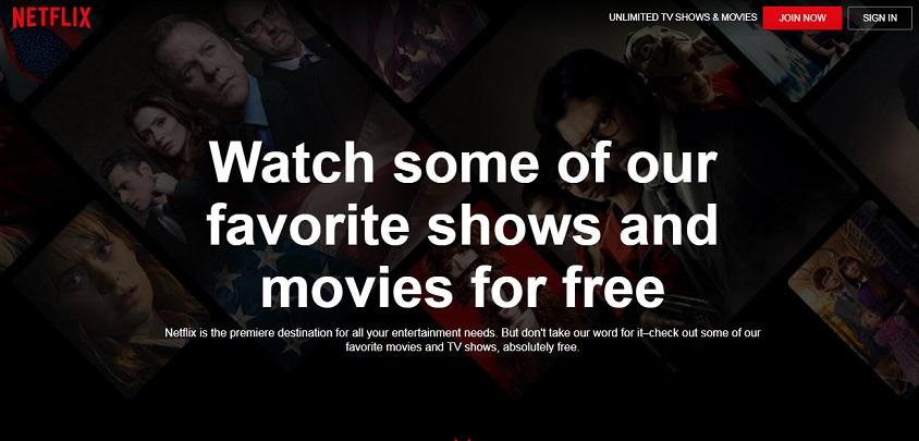 Netflix watch free page