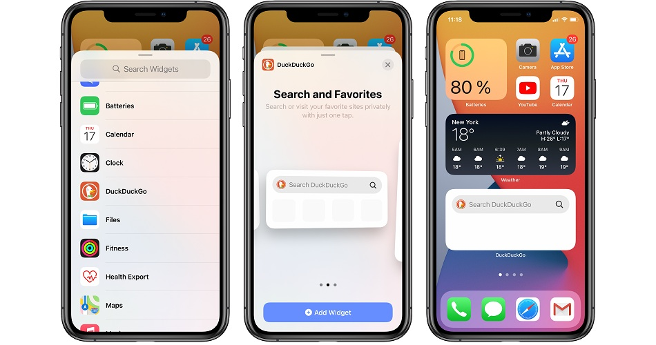 how to add duckduckgo widget to iOS 14 Home Screen