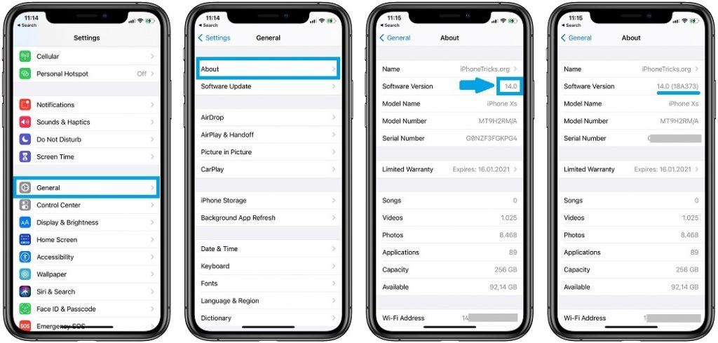 how to find out iOS 14 build number