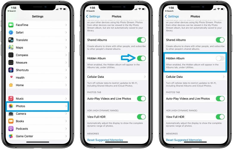 how to hide the Hidden Album in iOS 14