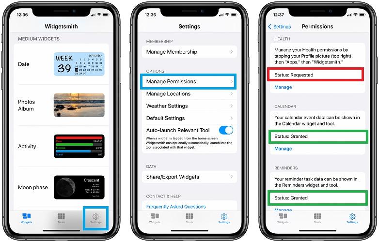 how to manage widgetsmith permissions