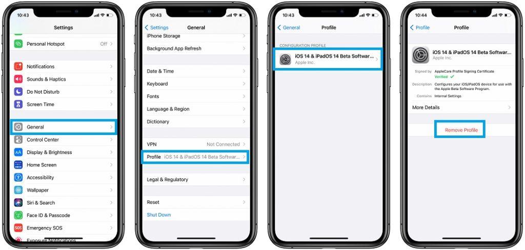 how to remove iOS 14 Beta profile