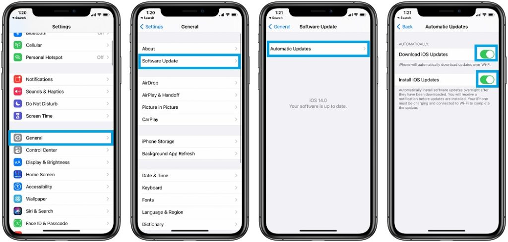 how to set iPhone to download and install iOS 14 automatically