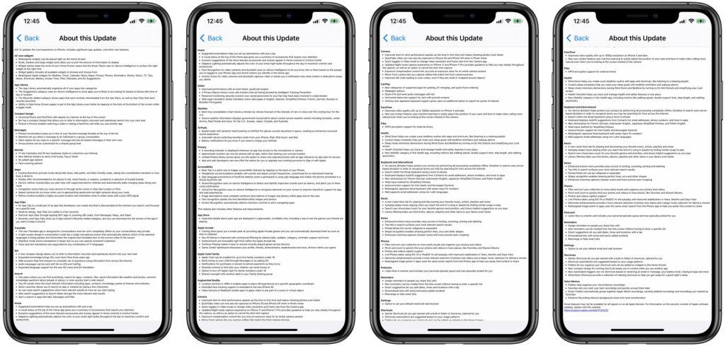 iOS 14 full update log