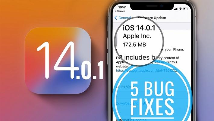 ios 14.0.1 includes 5 bug fixes