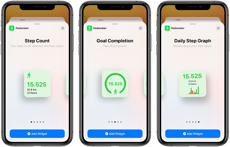 pedometer ios 14 home screen widgets