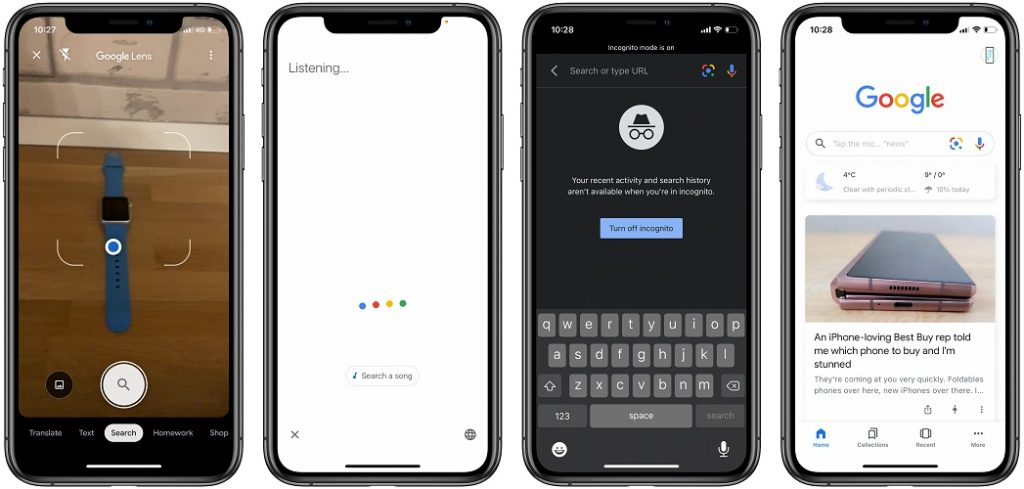 Google Search widget functions in iOS 14