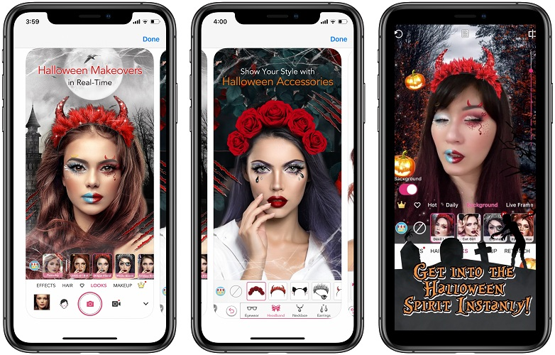 ar makeup app with halloween accessories