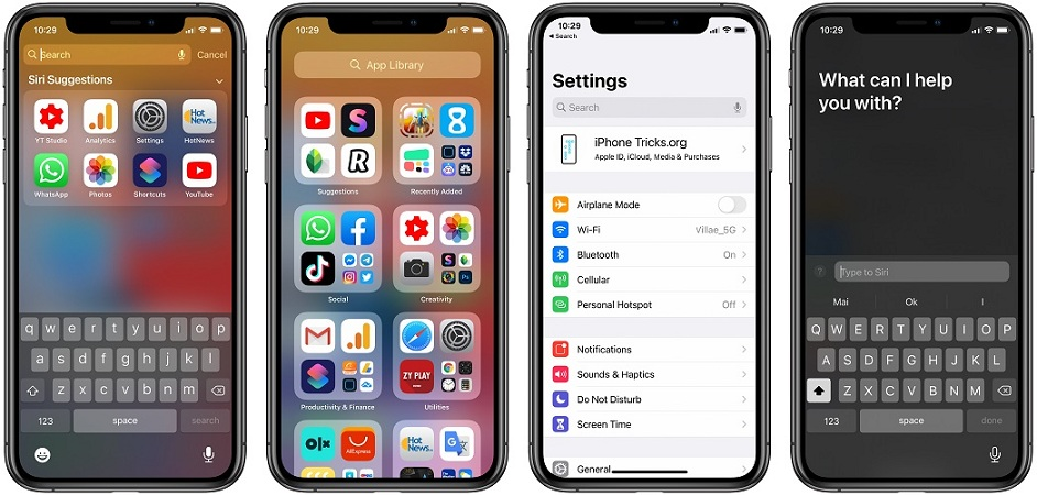 four search options in iOS 14