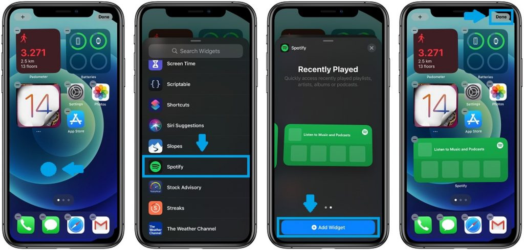 how to add Spotify widgets to Home Screen