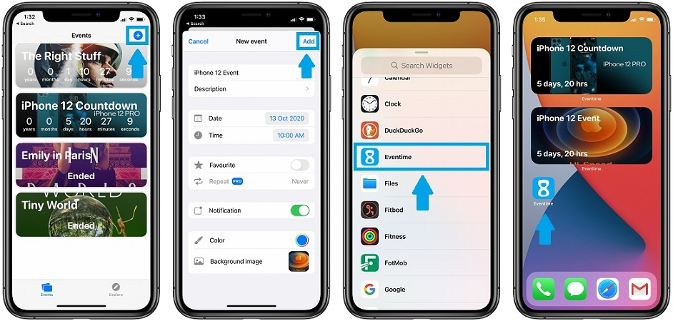 how to add iphone 12 countdown widget