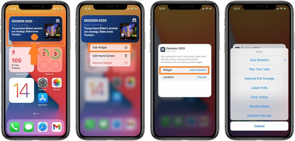 how to add latest polls widget to home screen