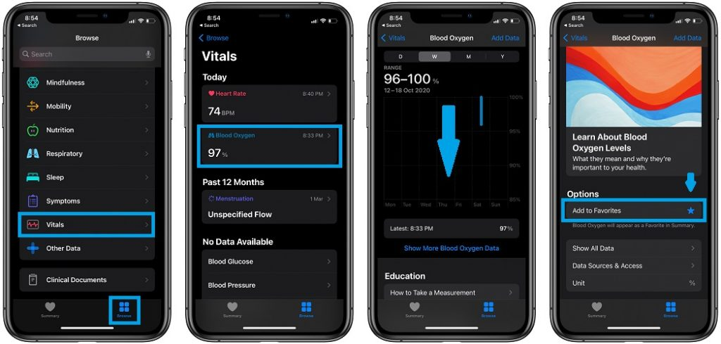 how to check blood oxygen measurements on iPhone