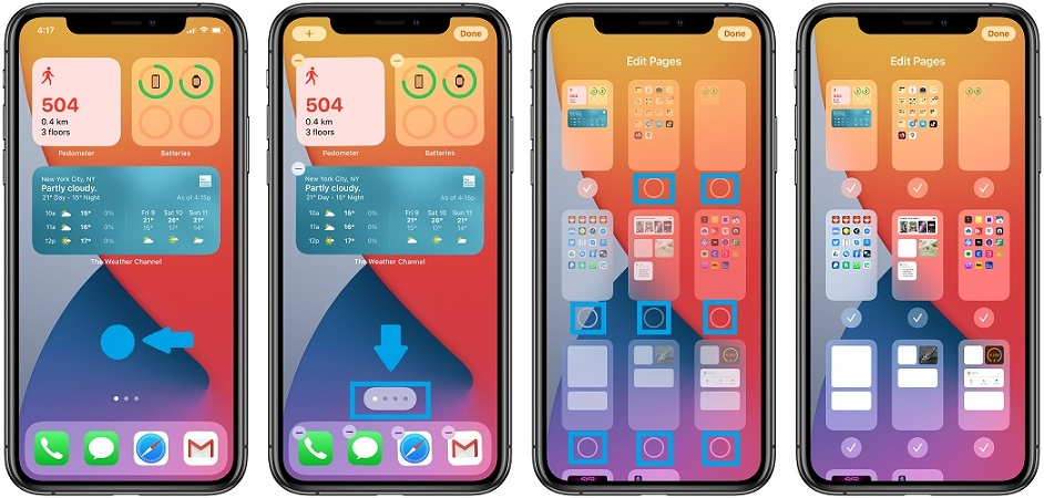 how to display home screen pages in ios 14