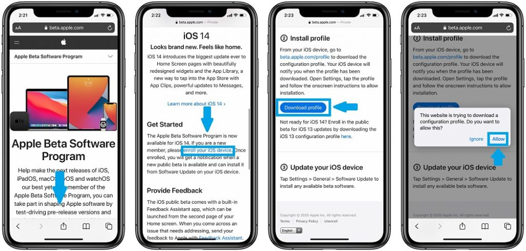 how to download iOS 14 Beta Profile