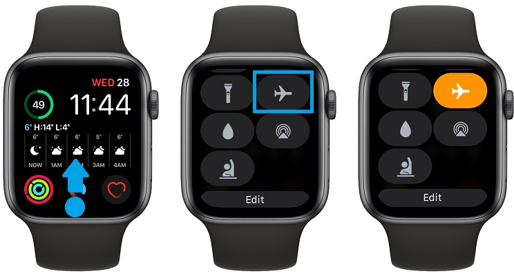 how to enable apple watch airplane mode