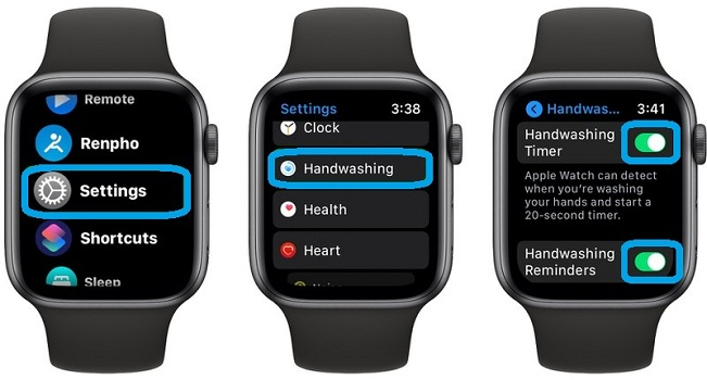 how to enable handwashing in watchOS 7