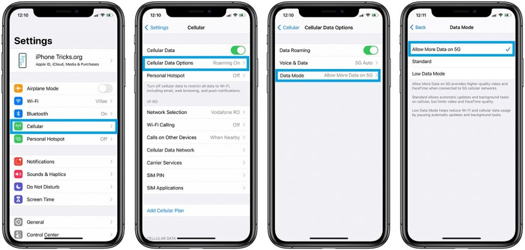 how to enable iOS software updates over 5G