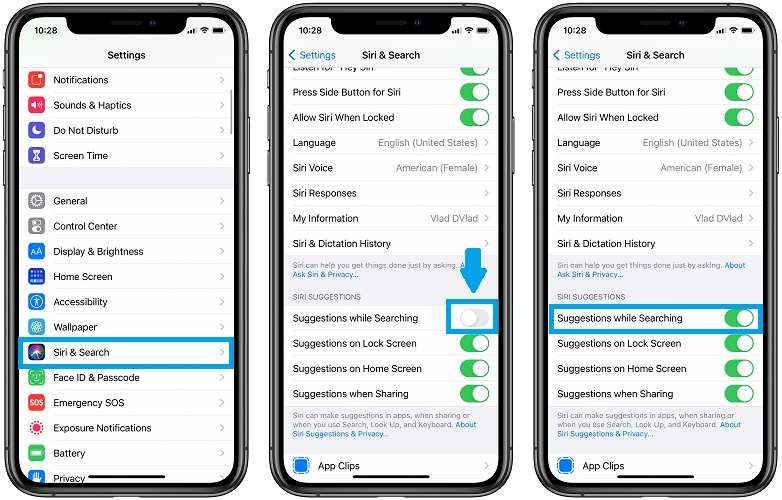 how to enable siri suggestins for spotlight search
