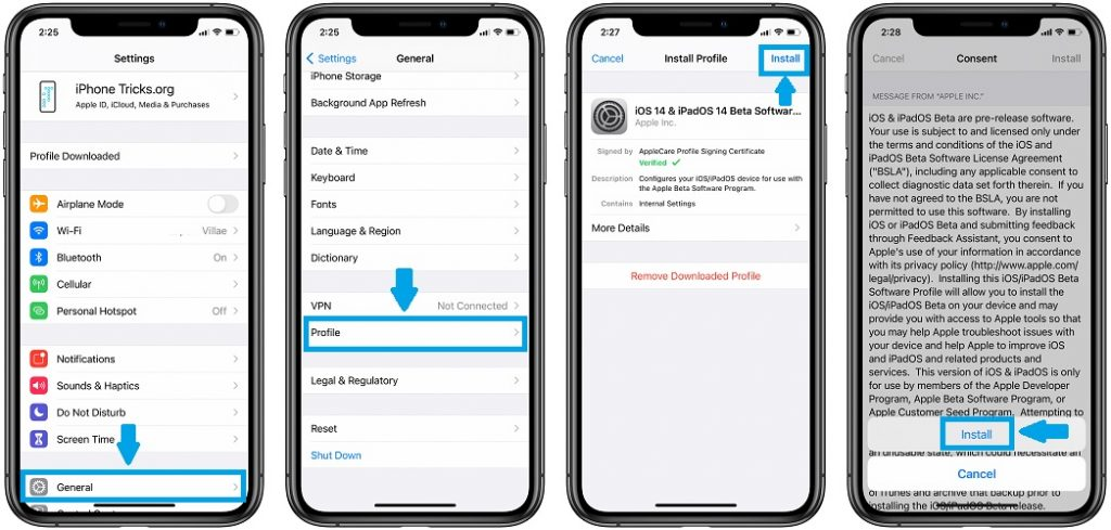 how to install iOS 14 beta profile