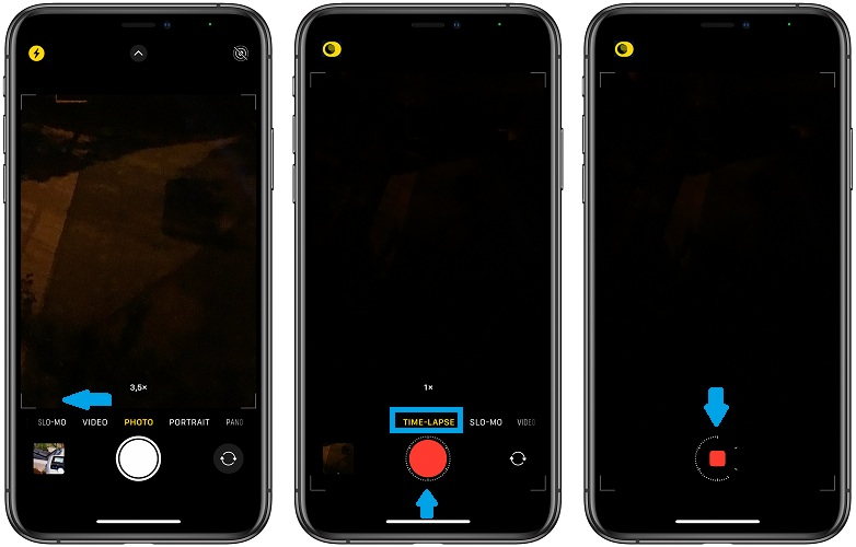how to record night mode time lapse on iPhone 12