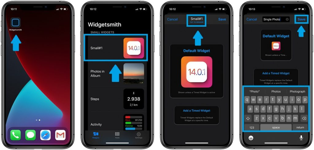 how to rename Widgetsmith widgets