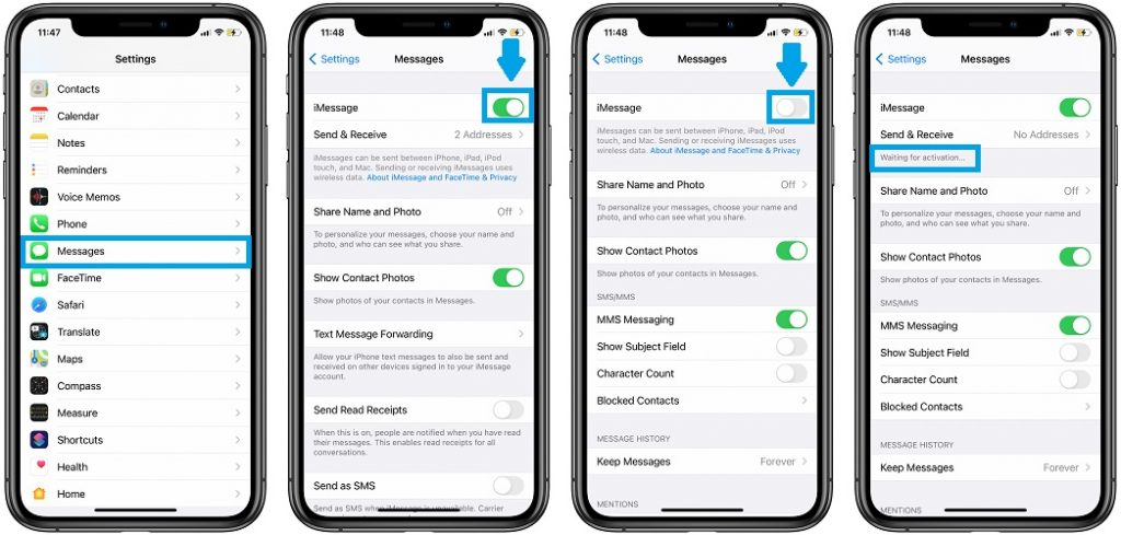 how to reset iMessage service on iPhone