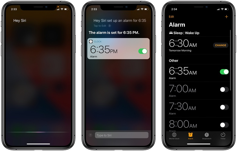 how to set alarm with Siri