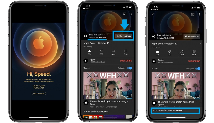 how to set iphone 12 keynote live stream reminder