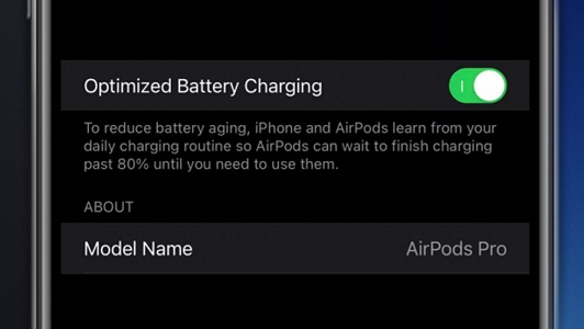 how to turn off optimized battery charging for airpods