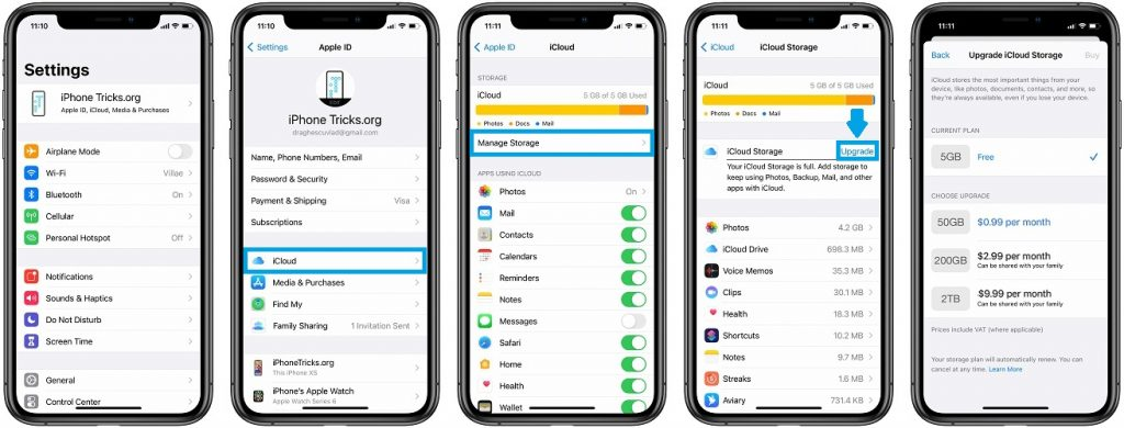how to upgrade iCloud storage on iPhone