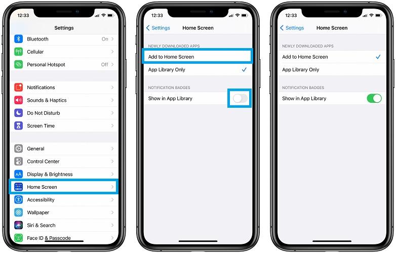 iOS 14 app library settings