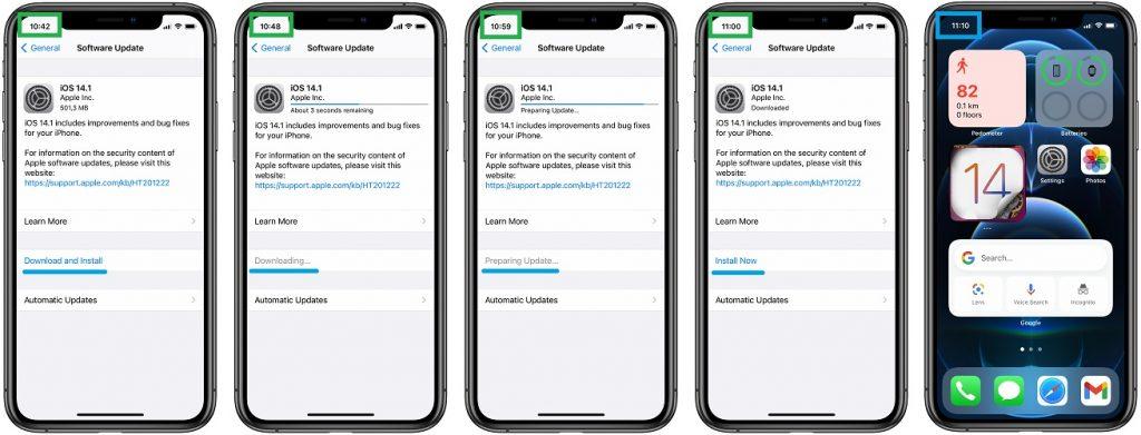 iOS 14.1 update duration timeline