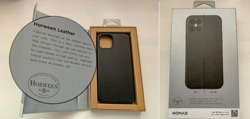 iPhone 12 leather case packaging by Nomad