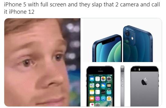 iphone 12 copying iphone 5 design meme