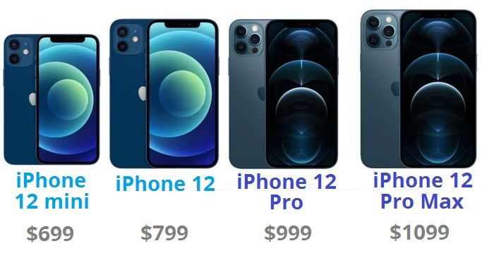 iphone 12 lineup with pricing